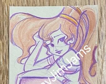 Original Artwork - Mini mermaid Meg