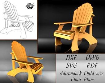 3 size big Diy Adirondack Chair Plans 3pcs child PDF format CNC union