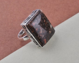 Silver Ring Silver Overlay Jewelry Natural Fruit Jasper Ring,Silver Plated Ring Boho Ring Tribal Ring,Gypsy Ring,Gift For Her,US Size-7