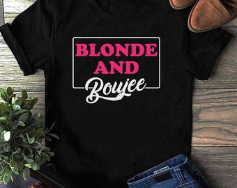 Stripe blonde and boujee tee with embroidery