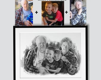 Custom Charcoal Portrait (Combining different pictures together, Merging photos of loved ones, Memorial Gift) hand-drawn