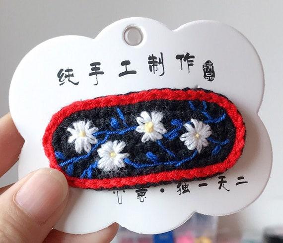hair clips Unique gifts Ladies hair clips Handmade flower Knit Crochet hair clips
