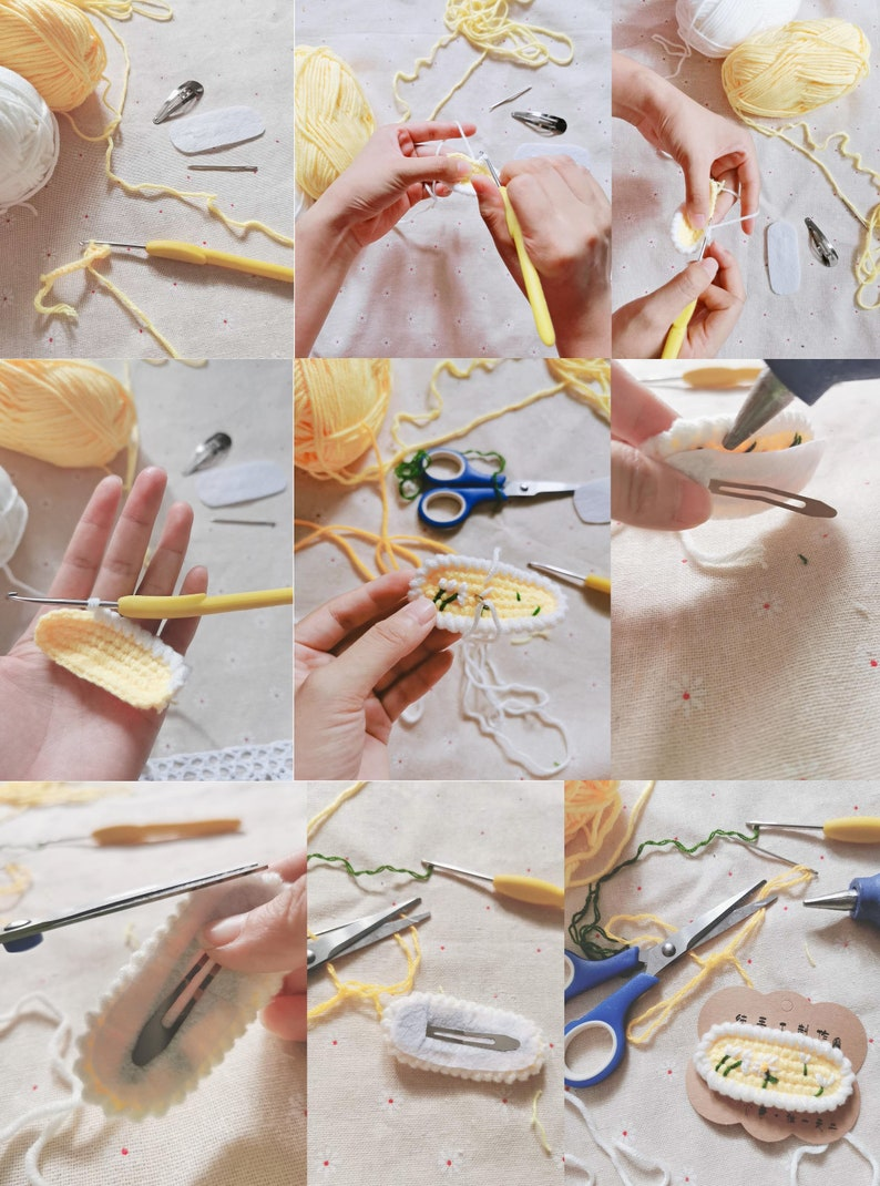 cute cartoon Handmade Knit Crochet hair clips Ladies hair clips Unique gifts