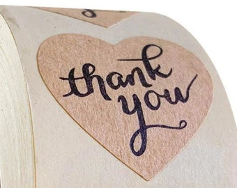 Thank You Stickers Green Flowers Wedding White Business Mix Labels 25mm