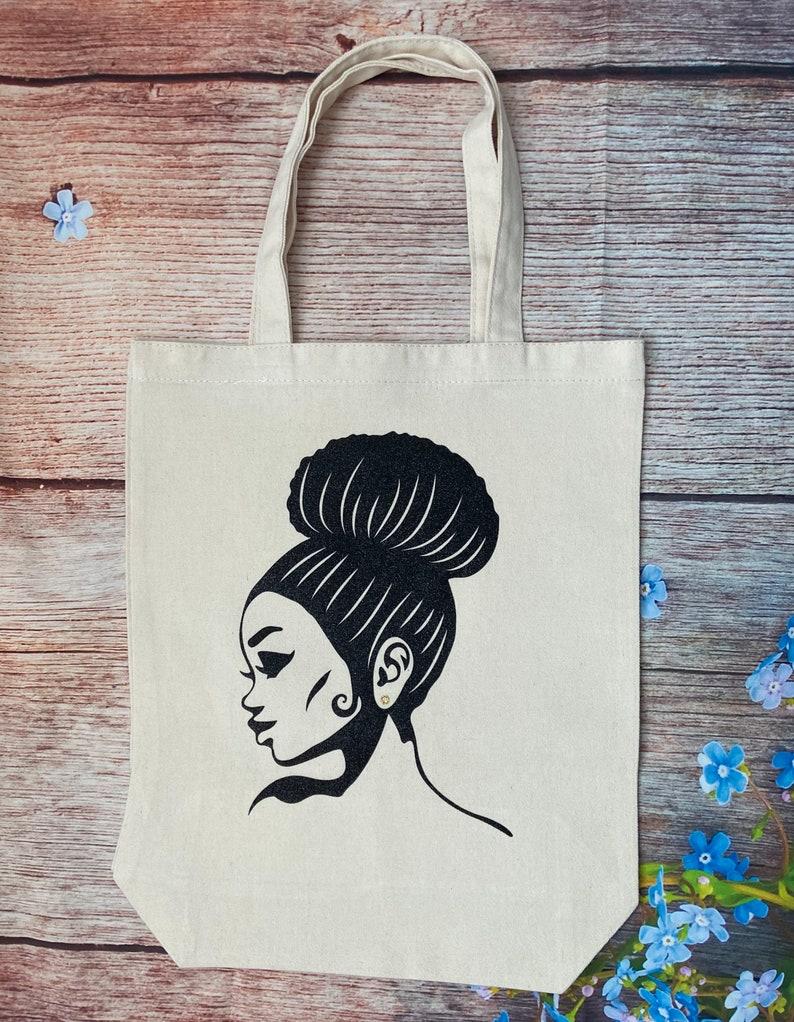 Bun Girl Tote Glitter Tote Black Girls Rock Natural Canvas Bag Black Girl Magic African American Diva Natural Hair