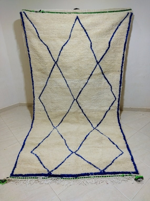 Moroccan traditional carpet, white carpet with blue stripes, handmade carpet made of natural wool
