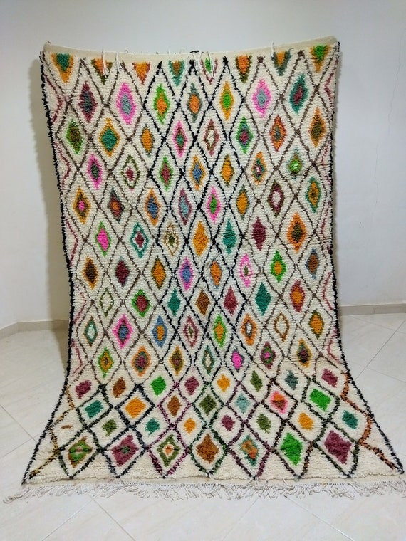 Moroccan Berber carpet, carpet woven from natural wool, colored in bright and natural colors, Azilal carpet