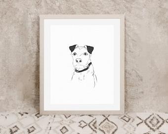 Custom Line Pet Portrait Illustration    Personalised Animal Print   Pet Illustration   Personalised Dog Drawing