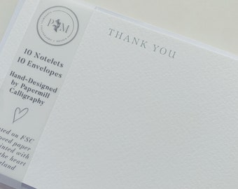 Thankyou Notecard   10 Pack of Notelets   Personal Stationery   Notecard Writing Set   Thank You Quote Card