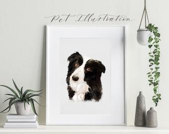 Custom Pet Portrait Illustration    Personalised Animal Print   Pet Illustration   Personalised Dog Drawing