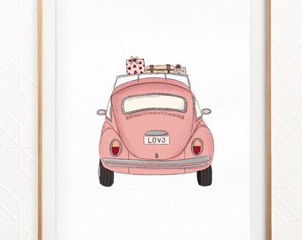 Love Bug Illustration   Pink Car Print   Girls Car Illustration   Girls Bedroom Print   Beetle Car Art