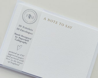 A Note To Say Notecard   10 Pack of Notelets   Personal Stationery   Notecard Writing Set