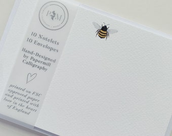 Bee Notecard   10 Pack of Notelets   Personal Stationery   Notecard Writing Set   Bumble Bee Card