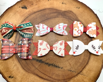 Christmas bows / Holiday bows / Reindeer bows / Christmas gift / Xmas bows / Candy Cane bows / Ginger bread bows