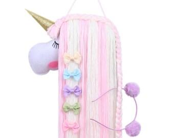 Unicorn Rainbow Color Hair Bow Holder