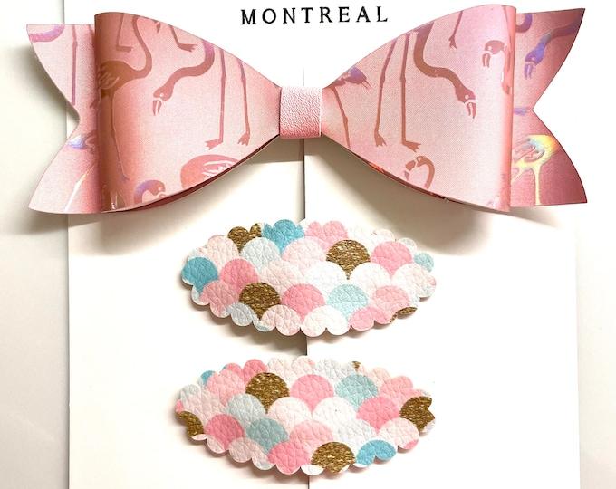 Flamingo hair bow and mermaid snap clip set