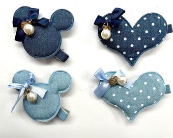 Denim Minnie and Heart hair clips