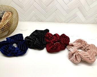 Velvet Ribbed Hair Scrunchie