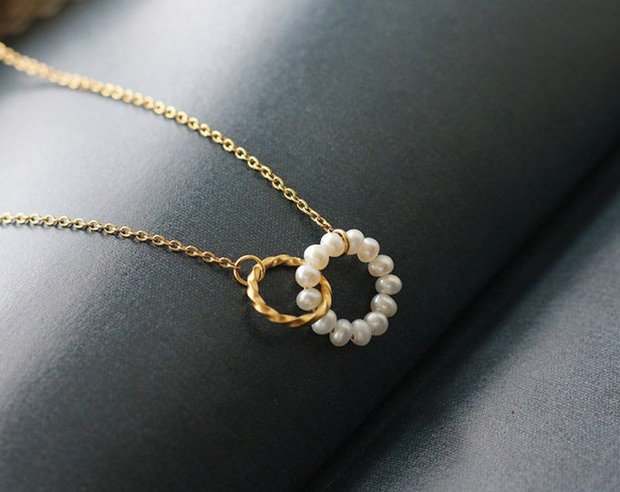 Gold Plated Pearl Circle Necklace