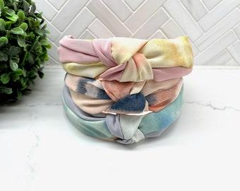 Top Knot Silk Tie Dye Headband