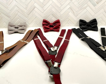 Father and Son Matching Bow Tie and Suspender Set