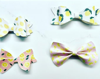 Lemon hair bows / girl hair bows / birthday party gifts / party favors / handmade bows
