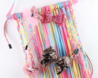 Rainbow & Multi Color Bow Headband Holder
