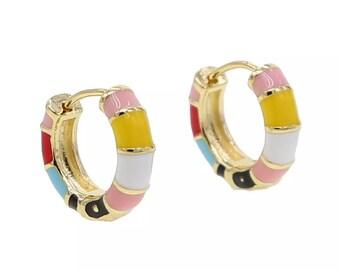 Gold Plated Pastel Rainbow Huggie Hoop Earrings