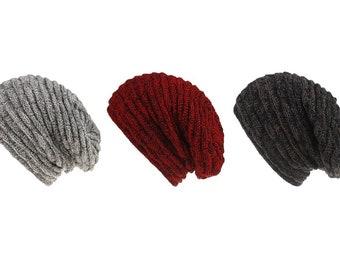 Adult Knit Fur Slouchy Beanie