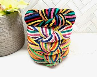 Rainbow Ribbed Top Knot Headband