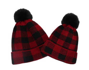 Adult & Kids Matching Knitted Plaid Hats