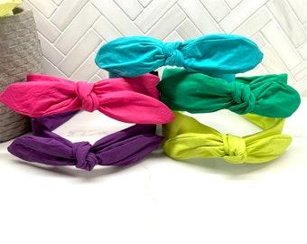 Neon Center Bow Kids Headband