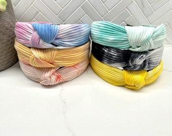 Top Knot Ribbed Tie Dye Headband
