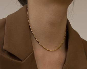 Gold Plated Beaded Chain Choker Necklace