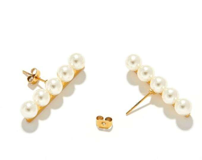 Balance Bar Pearl Stud Earrings
