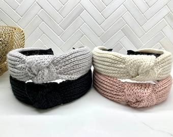 Ribbed Sweater Knit Top Knot Headband