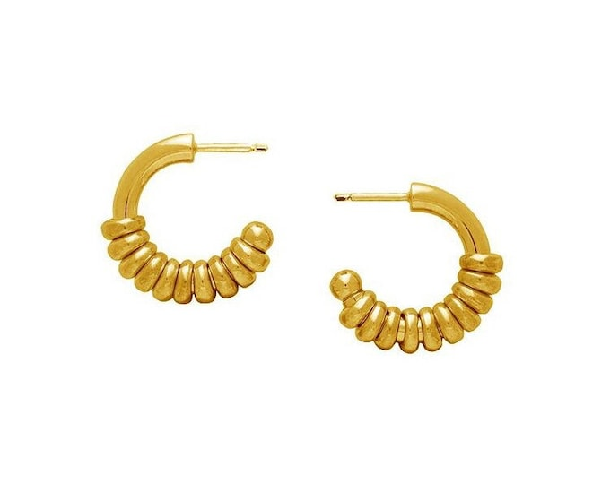 Gold Plated Stacked Ring Huggie Hoop Earrings