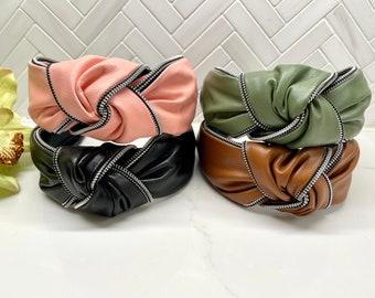 Faux Grain Leather Zipper Trim Top Knot Headband