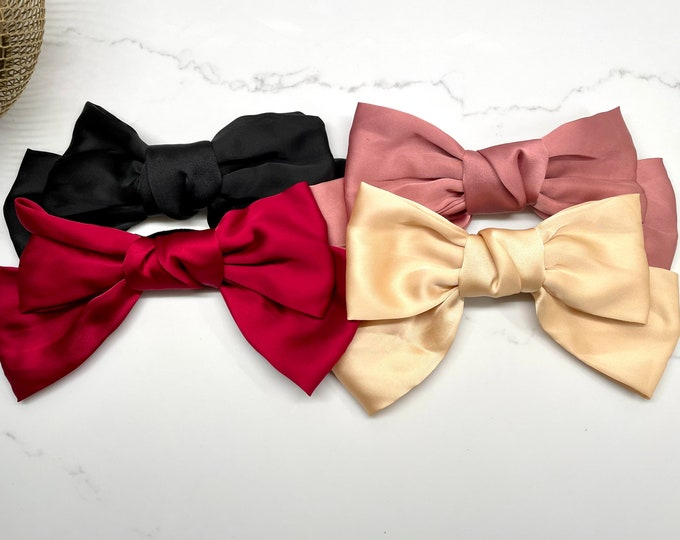 Oversized Silk French Barrette Bow