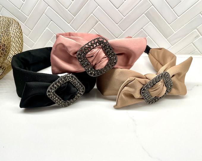 Rhinestone Diamonds Side Bow Headband