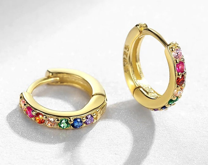 Pave Rainbow Huggie Hoop Earrings - 925 Sterling Silver - 18K Gold Plated