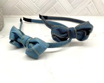 Kids Denim Side Bow Headband