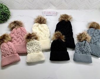 Adult Child Knitted Matching Hats
