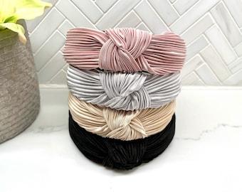 Top Knot Satin Ribbed Headbands