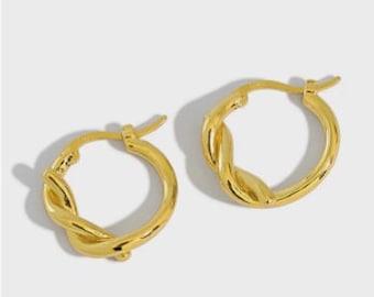 Gold Plated Knot Huggie Hoop Earrings