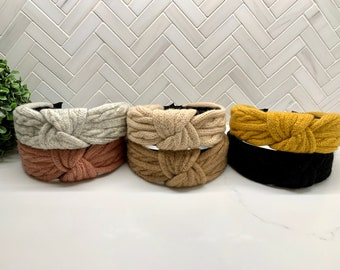 Cable Knit Top Knot headband