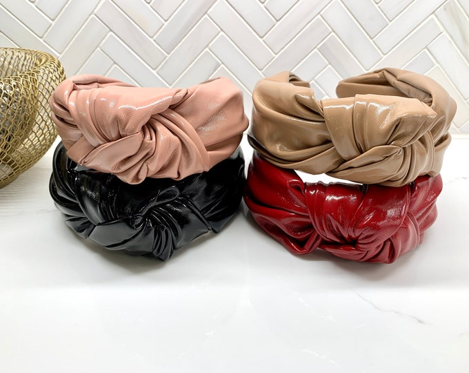 Classic Faux Patent Leather Thick Top Knot Headband