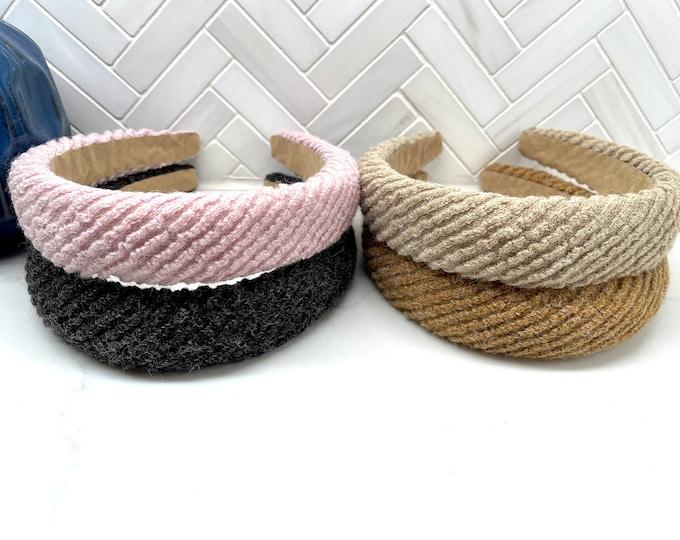 Ribbed Knit Sponge Puff Headband