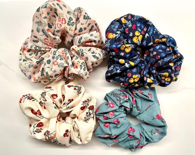 Floral Silk Hair Scrunchie