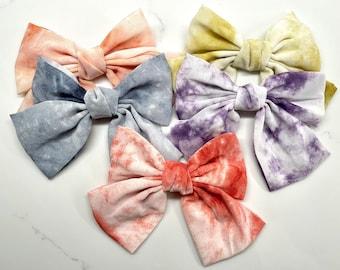 Oversized Satin Tie Dye Barrette Bow